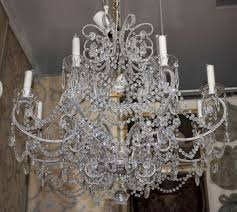monumental italian crystal beaded chandlier with larland of rose cut beads throughout scrolls throughout