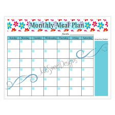 Babies Menu Planner Monthly Meal Planner Printable Baby Bugs Teal Red Pink Flowers