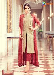 Front Open Salwar Designs Bold Beige Tafeta Silk Designer Front Open Salwar Suit