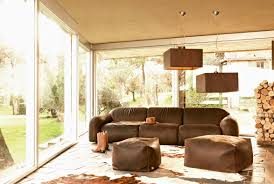 contemporary country furniture. Contemporary Country Living Room With Brown Sofa And Large Glass Window Furniture