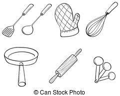 kitchen utensil clipart black and white.  Black A Black And White Version Of A Gathering Kitchen Utensils With Kitchen Utensil Clipart Black And White S