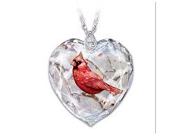messenger from heaven crystal heart necklace with cardinal at bradford exchange