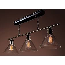 amerie 3 light black island edison chandelier with bulbs