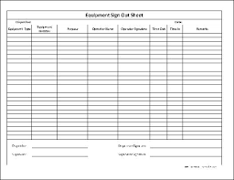 Check Out Sheet Free Basic Equipment Sign Out Sheet Supervisor Signature