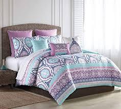 purple duvet cover queen. Brilliant Queen SL Home Fashions 8 Piece Raquel TurquoisePurple Comforter Set Queen Intended Purple Duvet Cover