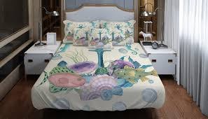nautical beach bedding comforter or duvet cover watercolor anchor seahorse fish twin full queen king throw pillow
