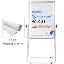 Details About Stand White Board 40 X 28 Magnetic Flip Chart Pad Double Sided Whiteboard