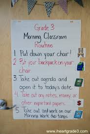 Classroom Routine Chart Morning Classroom Routine Anchor Chart I Heart Grade 3