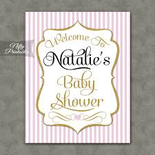 Pink Gold Girl Baby Shower Welcome Sign