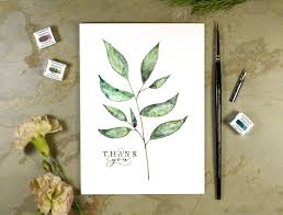 Personalized Simple Twig Watercolor Thank You Card Tutorial The Postmans Knock The Postmans Knock Simple Twig Watercolor Thank You Card Tutorial The Postmans Knock