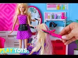 barbie doll hair salon play baby doll hair cut toys and doll hair color