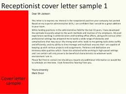 Reception Cover Letter Examples Receptionist Cover Letter Sample Job