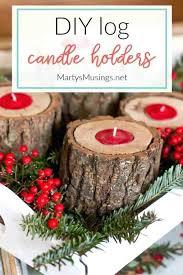 wood block candle holder diy log decorations rustic holders
