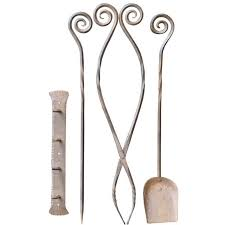 20th century large wrought iron fire tool set fire irons