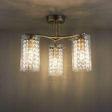 endon alda semi flush ceiling light 3x40w e14 candle brass glass drops shade