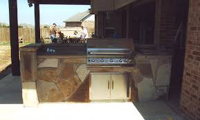 custom stone grill outside kitchen gvine texas