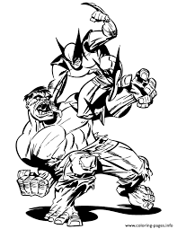 Small Picture Incredible Hulk Fighting With Wolverine Coloring Pages Printable