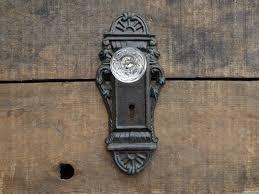 cast iron metal door plate skeleton key crystal knob wall hook old world decor