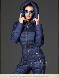 Womens Designer Ski Wear Sale 2015 Women Hooded Duck Down Jacket Fashion Jumpsuit Feminina