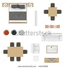 table and chairs top view. furniture top view collection. bed, table with chairs, bar stool, clothing rack and chairs