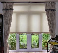 Spectacular White Shade Over Valance And Double Gray Cotton As Inspiring  Custom Patio Door Window Treatments In Vintage Interior Decoration Ideas
