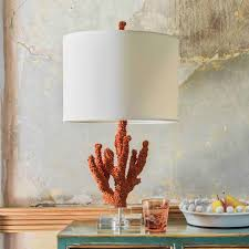 Faux Coral Table Lamp With Linen Shade Graham Green