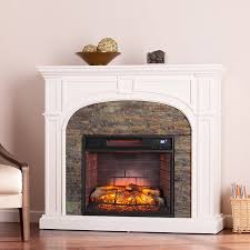 boston loft furnishings 45 75 in w white montelena faux stone mdf infrared quartz electric electric fireplace
