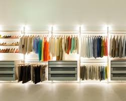 walk in closet with built in led lighting