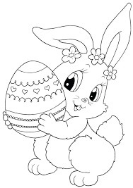 Easter Bunny Coloring Cute Bunny With Egg Coloring Pages Coloring