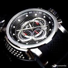 men invicta s1 rally touring black silver chronograph carbon fiber image is loading men invicta s1 rally touring black silver chronograph