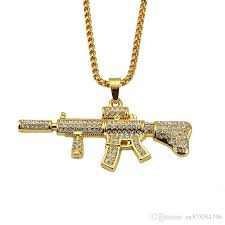 whole cool m4 pendant men hip hop fashion necklaces 18k gold plated punk rock style full rhinestone crystal for 75cm long chain pendants for