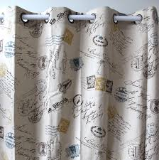 Living Room Curtain Panels Vezo Home Print Postmark Letters Yellow Linen Window Treatment