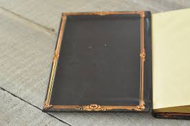 vintage leather journals copper frame inside cover of small medium