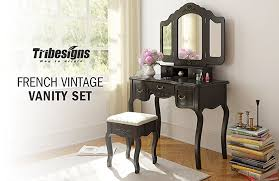 tribesigns french vintage makeup vanity table set with folding mirror padded stool