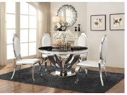 faux marble chrome round dining table set