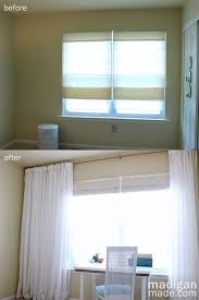 tip hang the curtains across the whole wall to make the window feel larger