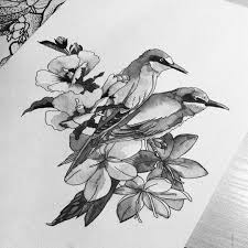 акварелька дошла до птичек эскиз тату татуировка тлт арт