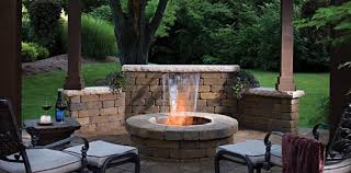 image of brick contemporary outdoor fireplace designs