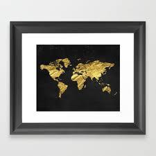 black gold decor gold world map office decor bathroom glam black wall art framed art print by peachandgold society6