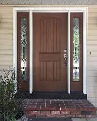 wood grain fiberglass entry door