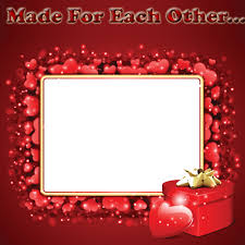 beautiful love frame with red hearts and your photo