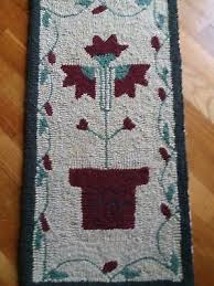 small vintage wool hand hooked rug potted flowers 14 x