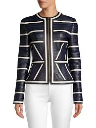 escada linsa pieced leather jacket blue women s 100 genuine