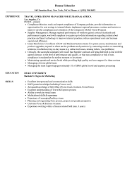 Travel Operations Manager Resume Samples Velvet Jobs