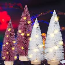 Little White Christmas Lights Us 3 2 20 Off Mini Exquisite Christmas Trees White Pink Little Tree With Lights Christmas Craft Gifts Christmas Tree With Glitter Xmas Props In