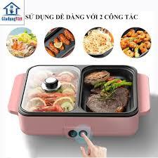 Nồi lẩu nướng điện mini đa năng 2 ngăn, bếp điện đa năng chống dính thế hệ  mới - Bảo hành 3 tháng - Nồi lẩu điện Thương hiệu No Brand