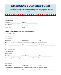 Emergency Contact Forms For Children 8 Sample Emergency Contact Forms Pdf Doc