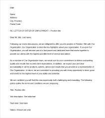 Job Offer Letter Format Word Job Offer Letter Format With