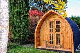 camping glamping wooden pods huts for