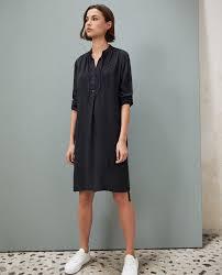 Comptoir Des Cotonniers Size Chart Silk Dress With Yoke Noir Isabella Comptoir Des Cotonniers